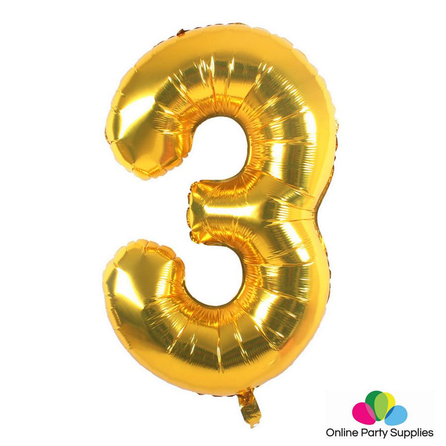 "16"" Gold Foil Balloon - Number 3 - Online Party Supplies"