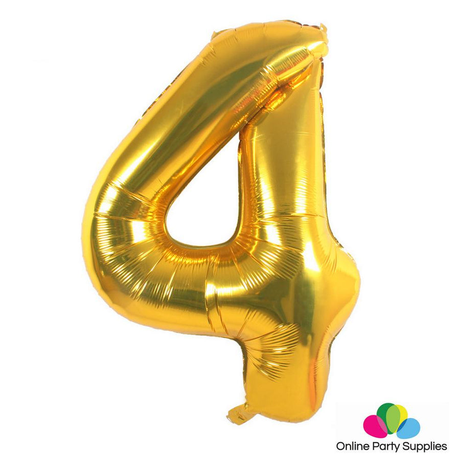 "16"" Gold Foil Balloon - Number 4 - Online Party Supplies"
