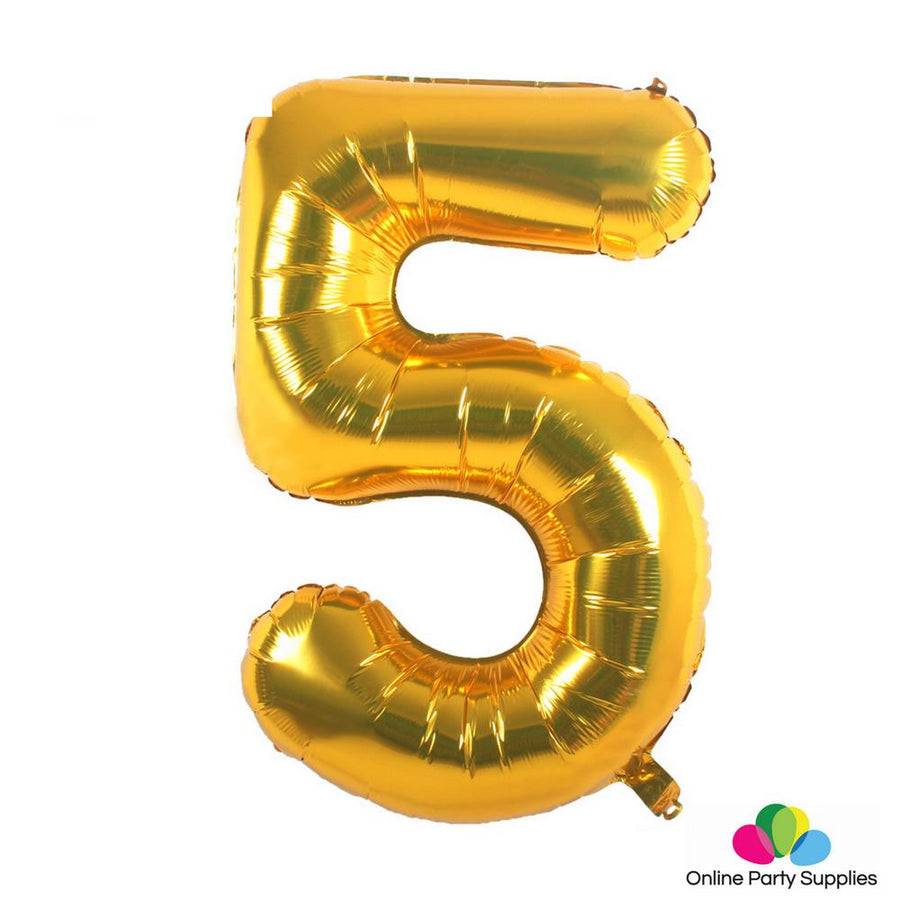 "16"" Gold Foil Balloon - Number 5 - Online Party Supplies"
