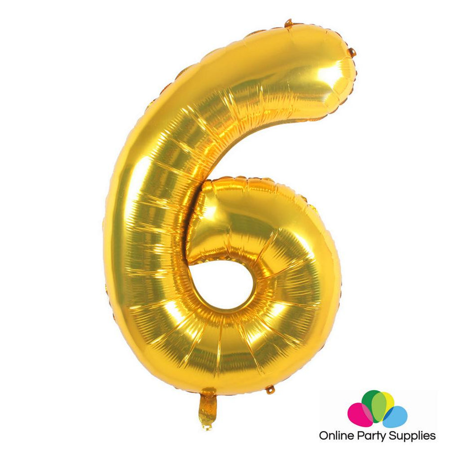 "16"" Gold Foil Balloon - Number 6 - Online Party Supplies"