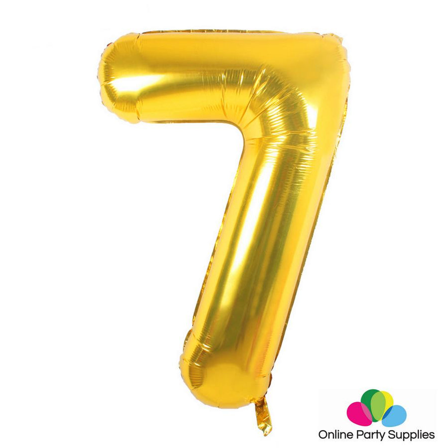 "16"" Gold Foil Balloon - Number 7 - Online Party Supplies"