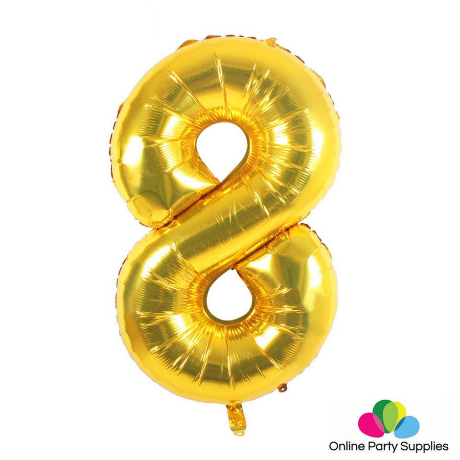 "16"" Gold Foil Balloon - Number 8 - Online Party Supplies"