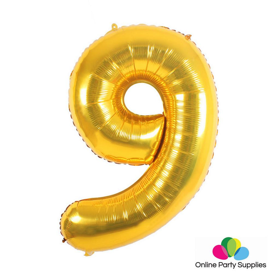 "16"" Gold Foil Balloon - Number 9 - Online Party Supplies"