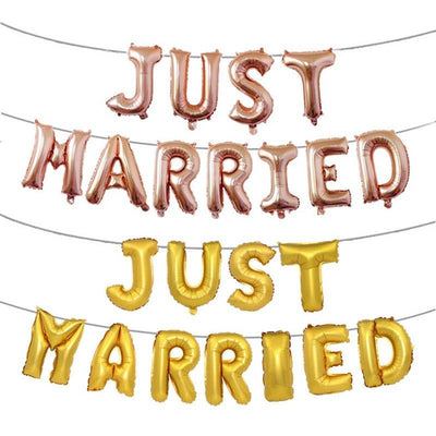 "16"" Gold/ Rose Gold 'JUST MARRIED' Foil Balloon Banner - Online Party Supplies"