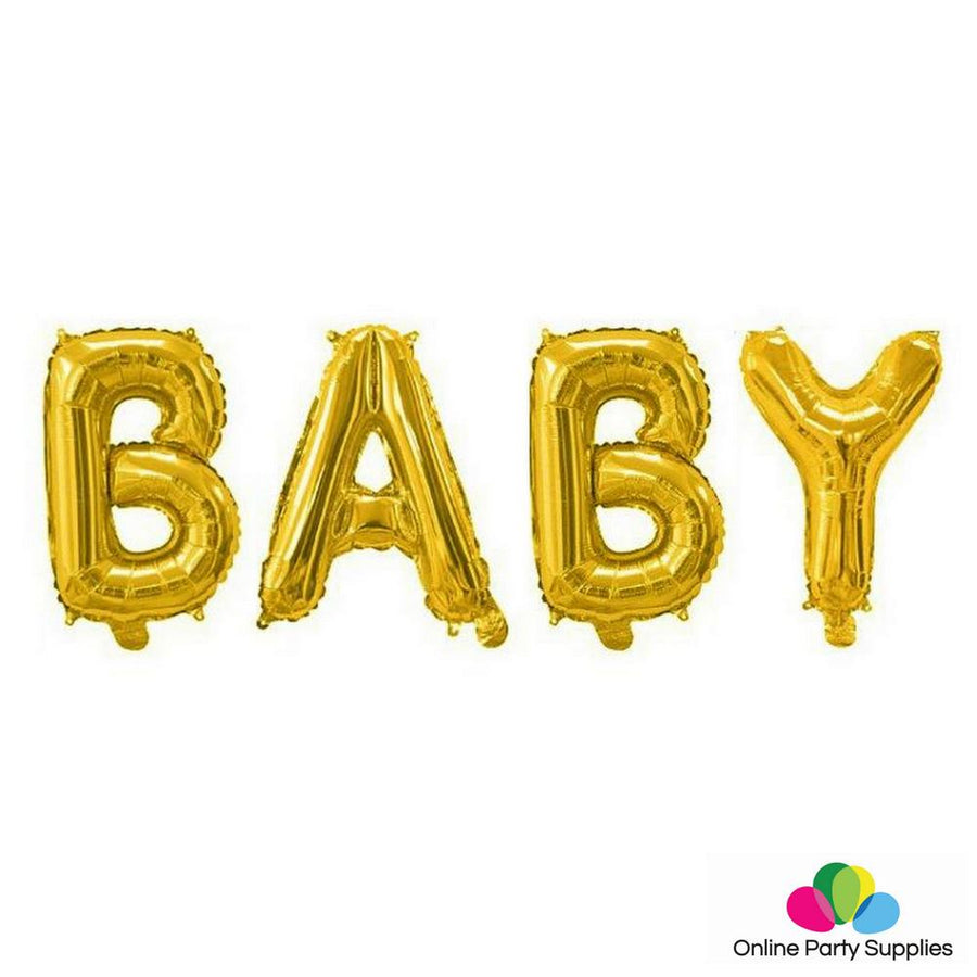 16 Inch Gold BABY Foil Balloon Banner - Online Party Supplies