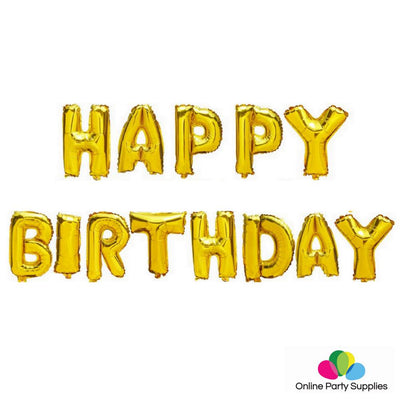 16 Inch Gold HAPPY BIRTHDAY Foil Balloon Banner - Online Party Supplies