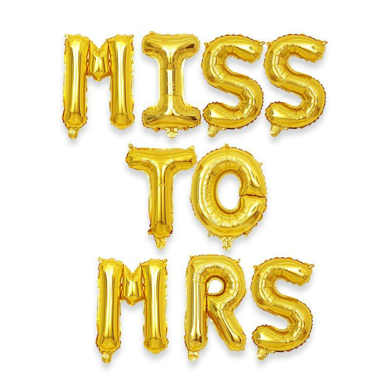 16 Inch Gold MISS TO MRS Foil Balloon Banner - Online Party Supplies