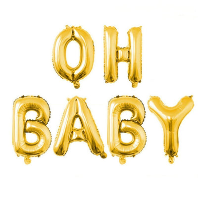 16 Inch Gold OH BABY Foil Letter Balloon Banner - Online Party Supplies