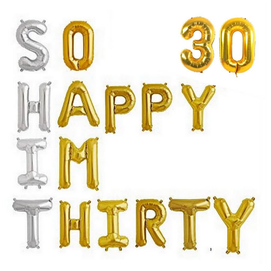 Online Party Supplies Australia 16 inch gold 'SO HAPPY IM THIRTY 30' foil balloon banner bunting