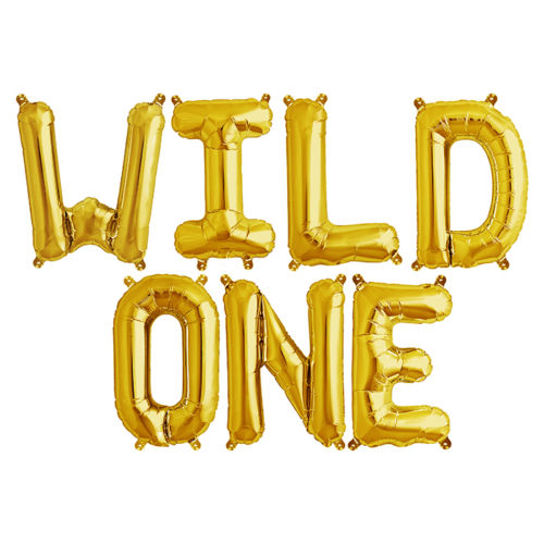16 Inch Gold WILD ONE Air Filled Letters Foil Balloon Banner - Online Party Supplies Australia