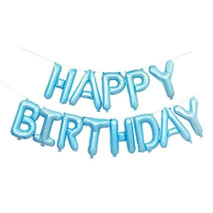 Online Party Supplies Australia 16 Inch Pastel Baby Blue HAPPY BIRTHDAY Foil Letter Balloon Banner