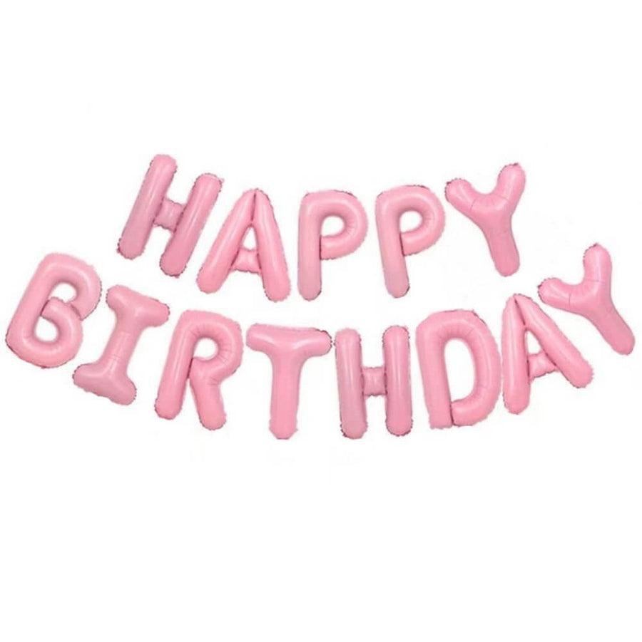 Online Party Supplies Australia 16 Inch Pastel Baby Pink HAPPY BIRTHDAY Foil Letter Balloon Banner