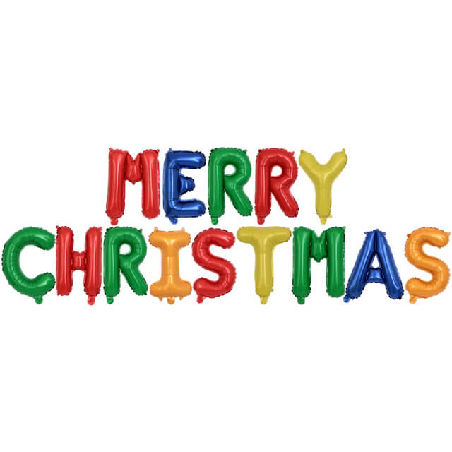 16inch Rainbow MERRY CHRISTMAS Letter Air-Filled Foil Balloon Banner Garland - Online Party Supplies