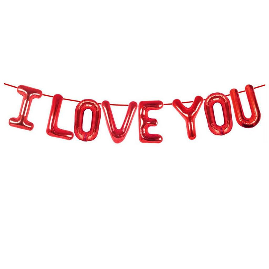 40cm Rose Gold 'I LOVE YOU' Foil Balloon Banner - Valentine's Day, Proposal and Wedding Party Decorations
