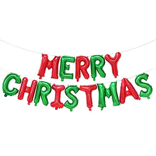 16inch red green MERRY CHRISTMAS Letter Air-Filled Foil Balloon Banner Bunting - Online Party Supplies