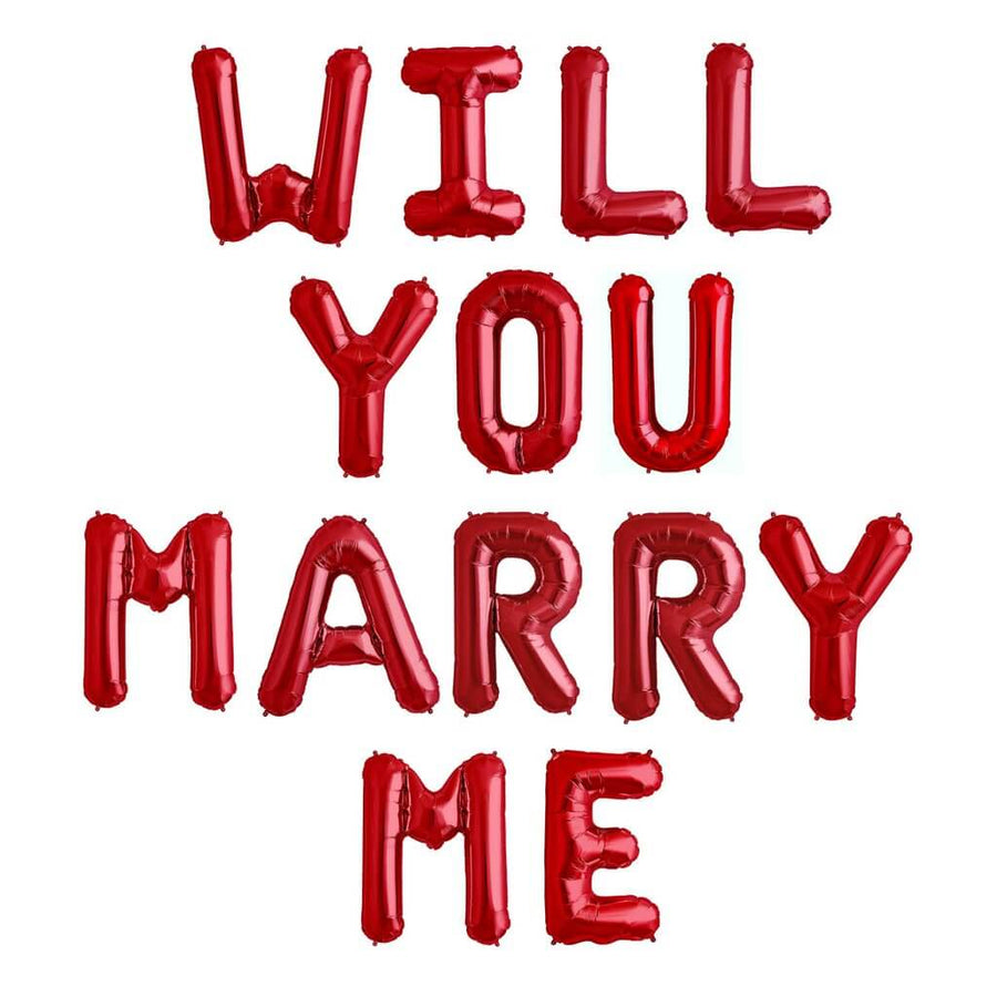 16 Inch Red WILL YOU MARRY ME Foil Balloon Banner - Engagement, Proposal Party Supplies and Decorations