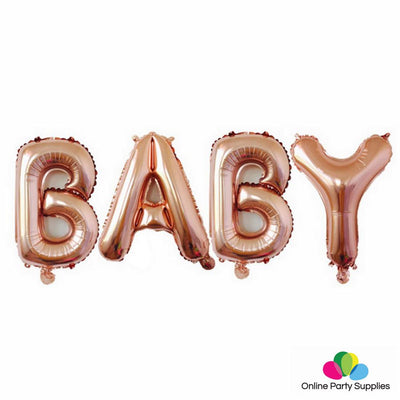 16 Inch Rose Gold BABY Foil Balloon Banner - Online Party Supplies