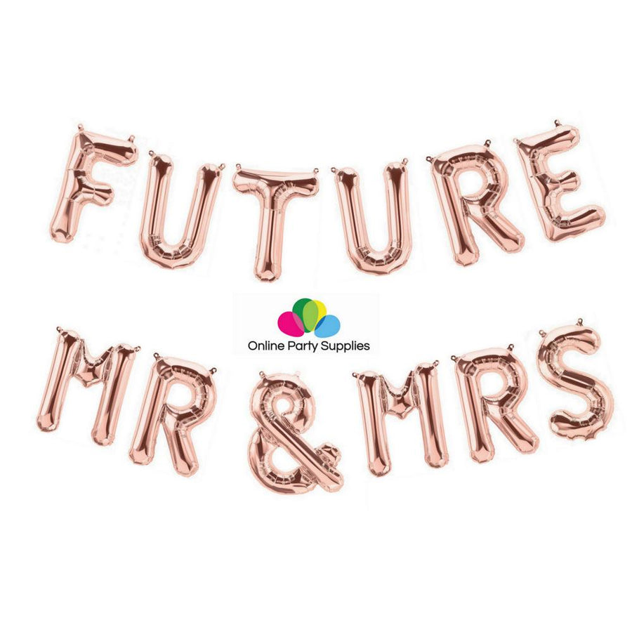 16 Inch Rose Gold 'FUTURE MR & MRS' Foil Balloon Banner - Online Party Supplies