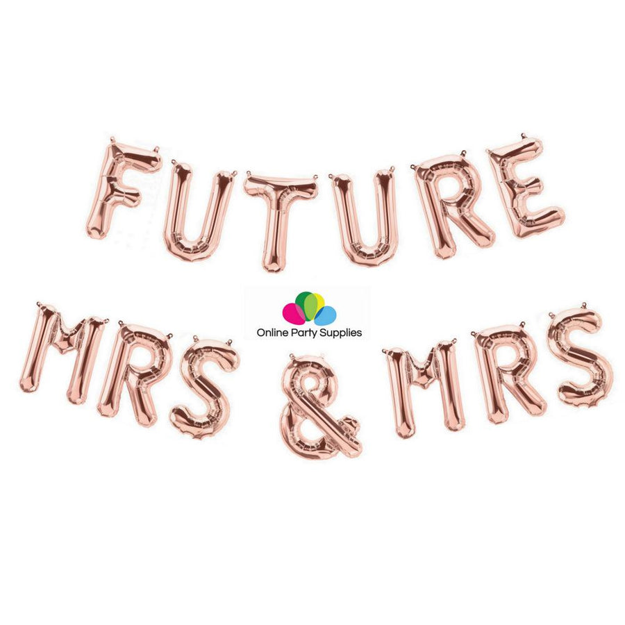 16 Inch Rose Gold 'FUTURE MRS & MRS' Foil Balloon Banner - Online Party Supplies