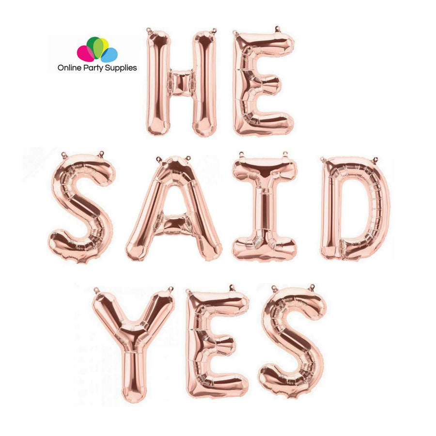 16 Inch Rose Gold 'HE SAID YES' Foil Balloon Banner - Online Party Supplies