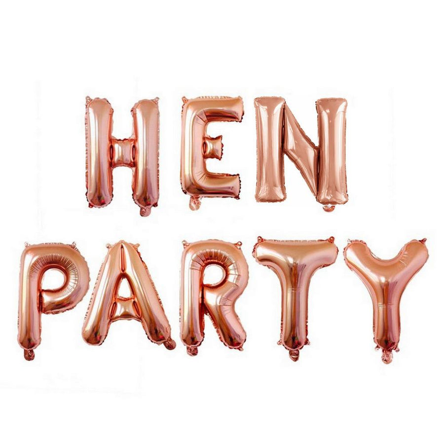 16 Inch Rose Gold HEN PARTY Foil Balloon Banner (Pack of 8pcs) - Online Party Supplies
