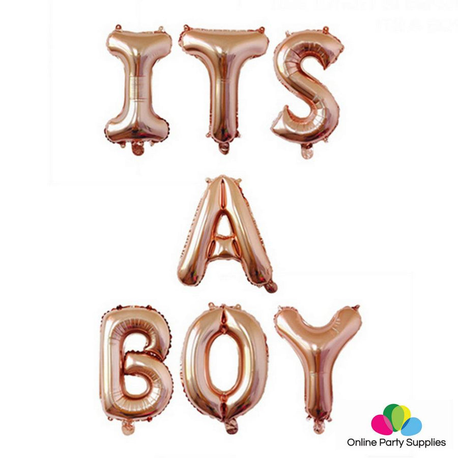16 Inch Rose Gold ITS A BOY Foil Balloon Banner