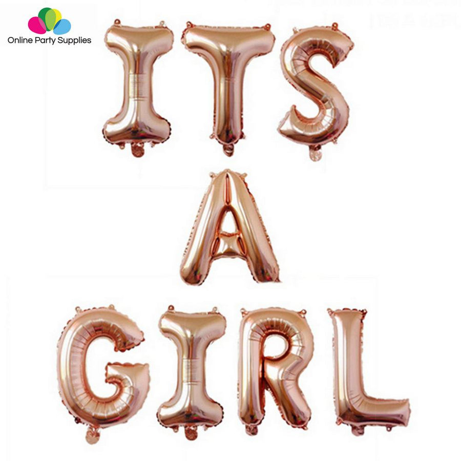 16 Inch Rose Gold ITS A GIRL Foil Balloon Banner - Online Party Supplies
