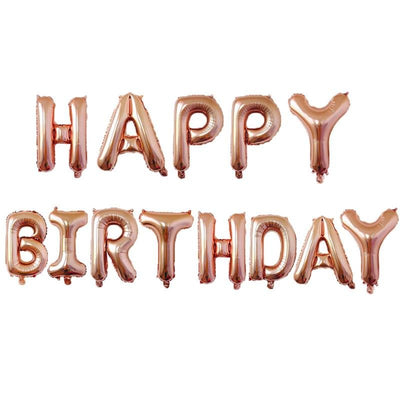 16 Inch Rose Gold Letters HAPPY BIRTHDAY Foil Balloon Banner - Online Party Supplies