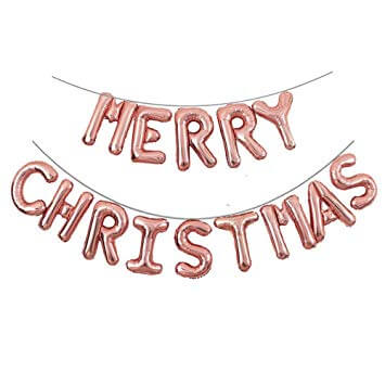 16 Inch Online Party Supplies Australia Rose Gold Air-filled MERRY CHRISTMAS Foil Balloon Banner Bunting - Christmas Decorations