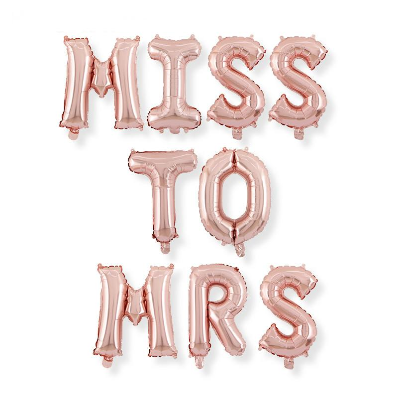 16 Inch Rose Gold MISS TO MRS Foil Balloon Banner - Online Party Supplies