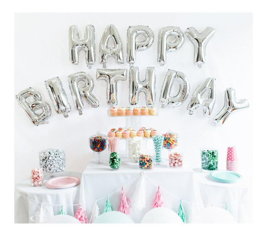 "16"" Silver HAPPY BIRTHDAY Foil Letter Balloon Banner"