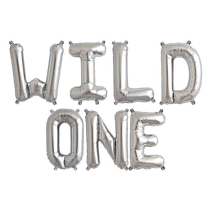 16 Inch Silver WILD ONE Air-filled Letter Foil Balloon Banner - First Birthday Party Decorations