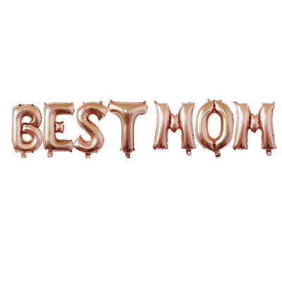 "16"" Mother's Day Rose Gold BEST MOM Foil Balloon Banner - Online Party Supplies"