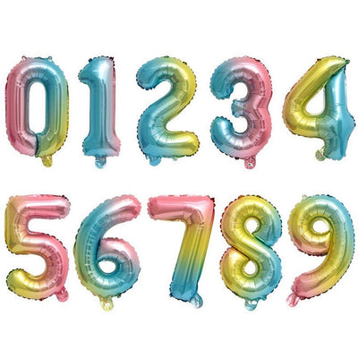 "16"" Pastel Iridescent Rainbow Number 0-9 Foil Balloon - Online Party Supplies"