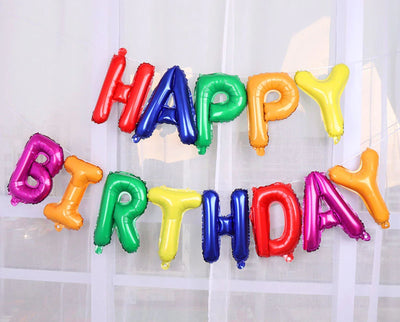 "16"" Rainbow HAPPY BIRTHDAY Foil Letter Balloon Banner - Online Party Supplies"