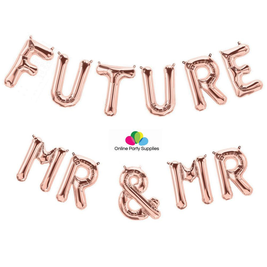 "16"" Rose Gold 'FUTURE MR & MR' Foil Balloon Banner - Online Party Supplies"