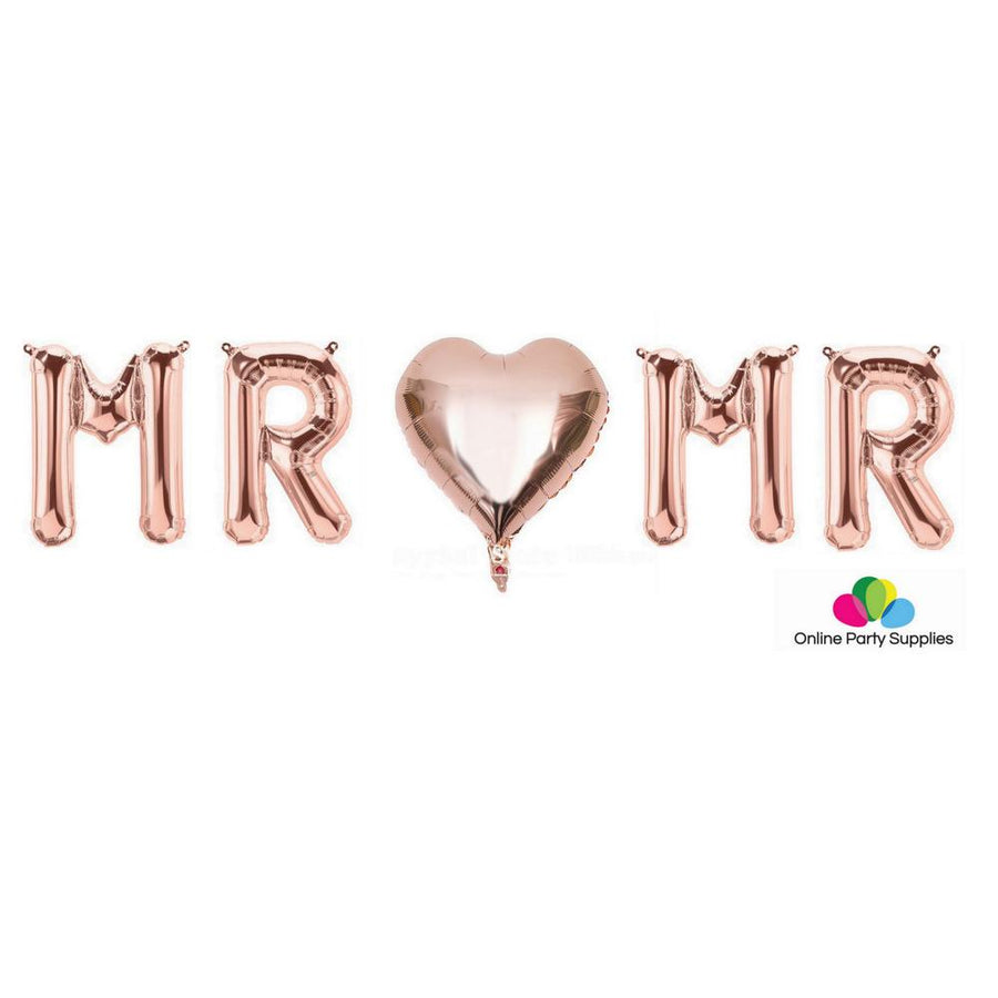 "16"" Rose Gold 'MR ♡ MR' Foil Balloon Banner - Online Party Supplies"