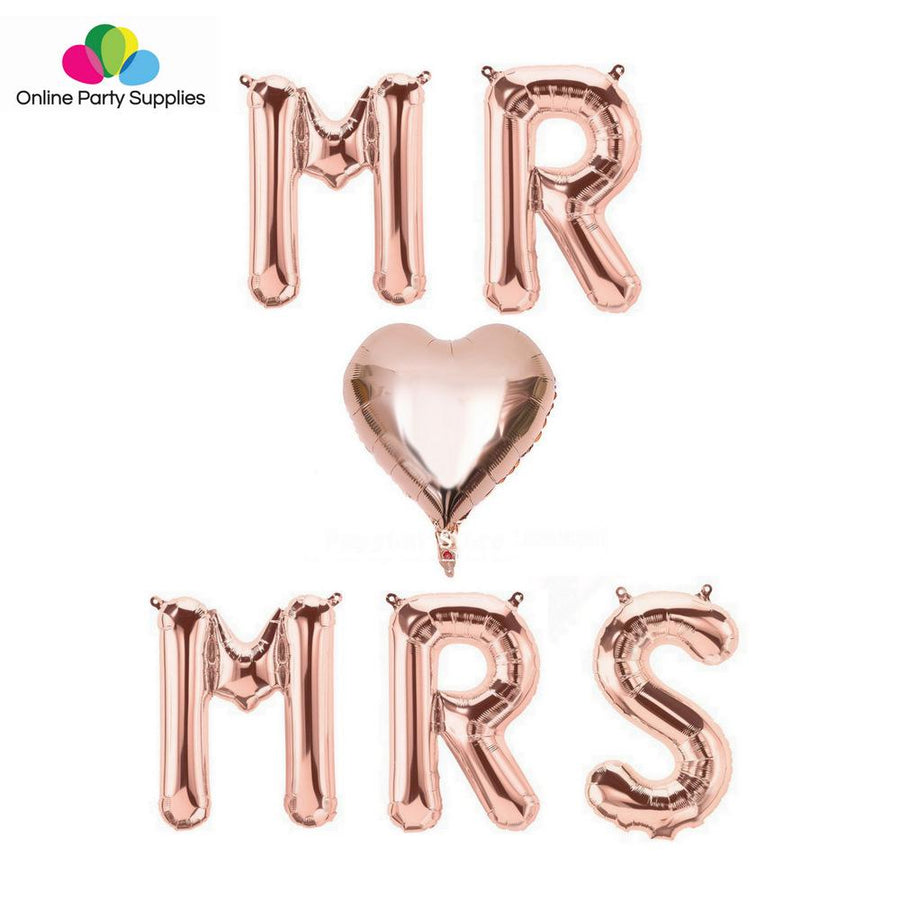 "16"" Rose Gold 'MR ♡ MRS' Foil Balloon Banner - Online Party Supplies"