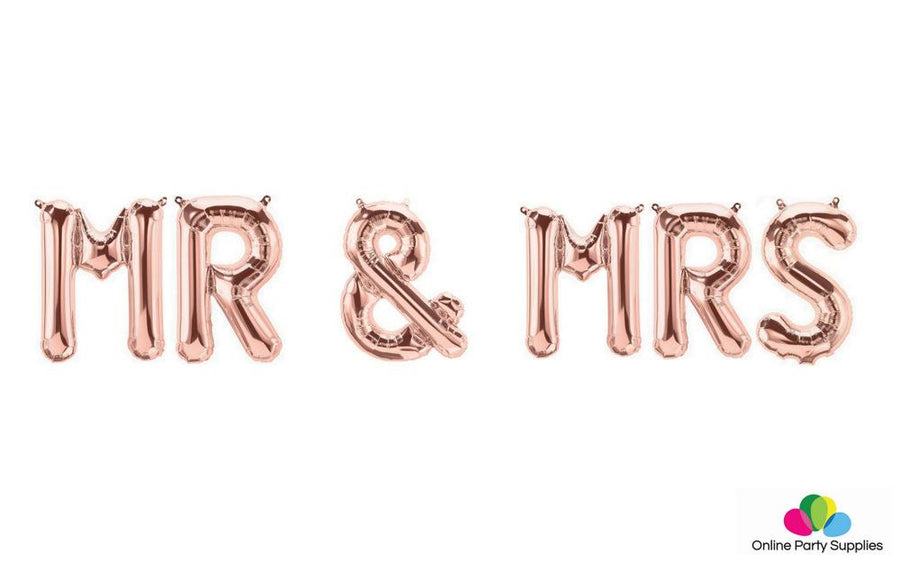 "16"" Rose Gold MR & MRS Foil Balloon Banner - Online Party Supplies"