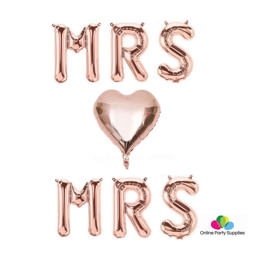 "16"" Rose Gold 'MRS Heart MRS' Foil Balloon Banner - Online Party Supplies"