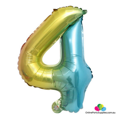 "32"" Iridescent Rainbow Ombre Number 4 Party Foil Balloon - Online Party Supplies"