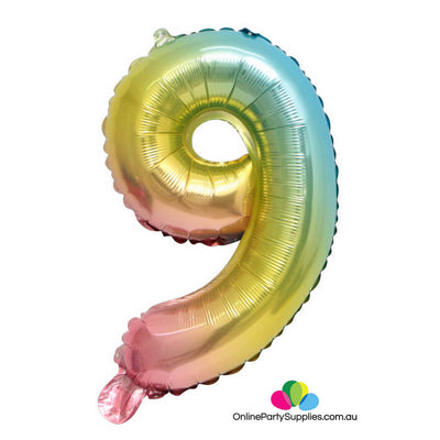 "32"" Iridescent Rainbow Ombre Number 9 Party Foil Balloon - Online Party Supplies"