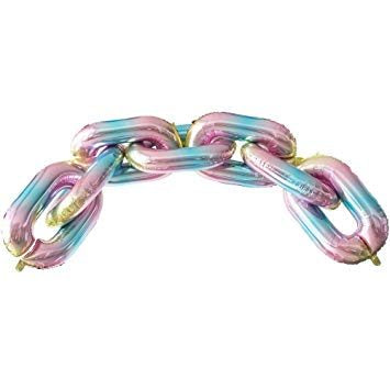 "32"" Online Party Supplies Ombre Iridescent Rainbow Foil Chain Balloon Links for Hip Hop Dance Disco 80s 90s themed party decorations"
