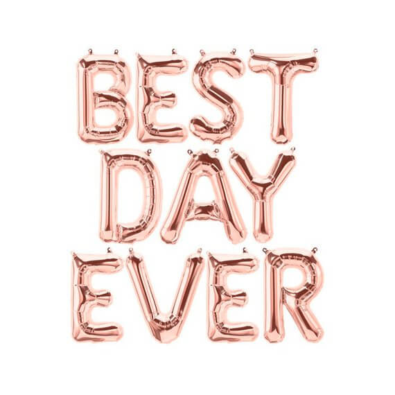 "16"" Rose Gold BEST DAY EVER Foil Letter Balloon Banner - Bridal Shower, Bachelorette Party, Wedding, Engagement Party Wall Backdrop Decorations"