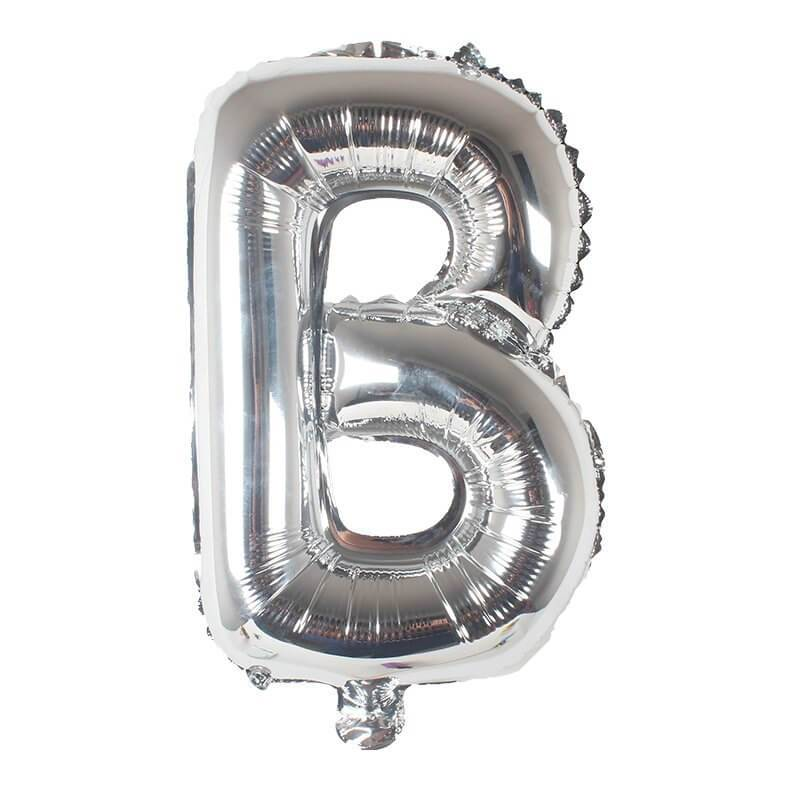 "16"" Silver A-Z Alphabet Letter & 0-9 Number Foil Balloon"