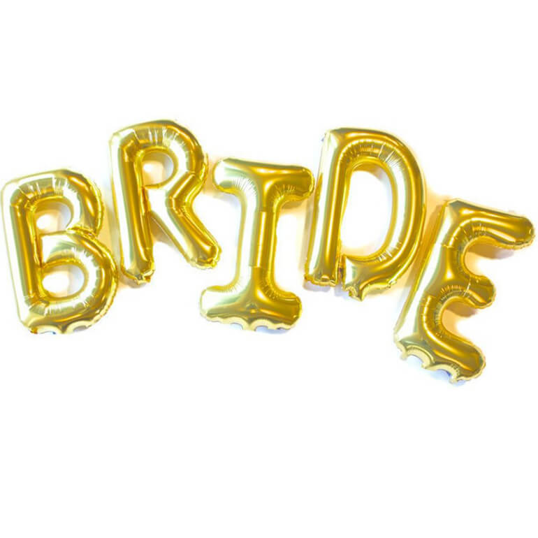 "16"" Gold 'BRIDE' Foil Balloon Banner - Bridal Shower, Hen Party and Wedding Party Wall Backdrop Decorations"