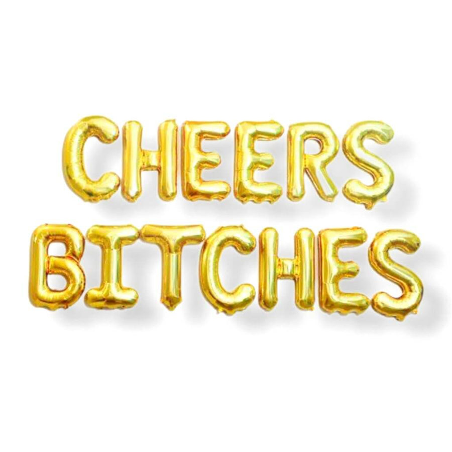 "16"" Gold CHEERS BITCHES Foil Balloon Banne"