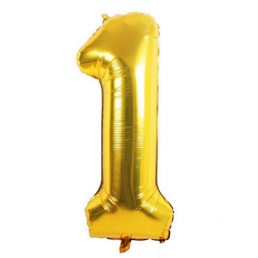 "16"" Gold Foil Balloon - Number 1 - Online Party Supplies"
