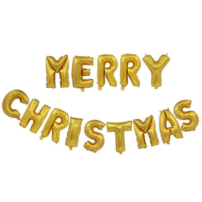16inch Gold MERRY CHRISTMAS Letter Air-Filled Foil Balloons - Online Party Supplies
