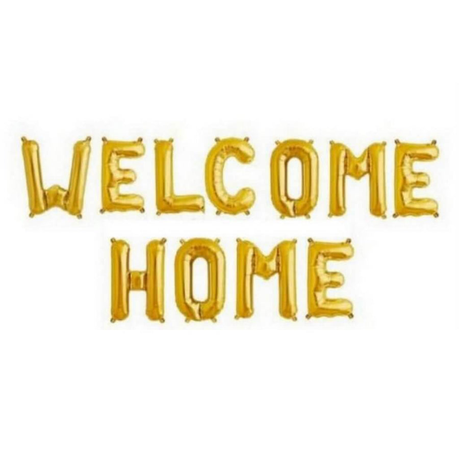 "16"" Gold WELCOME HOME Foil Letter Balloon Banner"